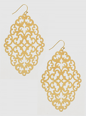 Gold Filigree Ornate Metal Earrings