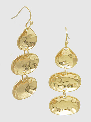 Gold Metal Hammered Geometric Shape Dangle Drop Earrings