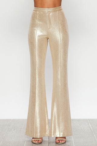 Champagne Gold Faux Leather Bell Bottom Pants