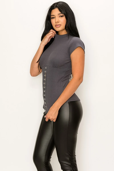 Hooked Up Corset Knit Top