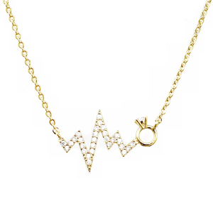 Pave Heartbeat Gold Necklace