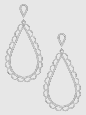 Silver Metal Lace Earrings