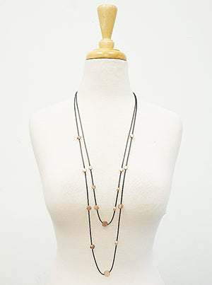 Faux Leathered and Beaded Layered Necklace