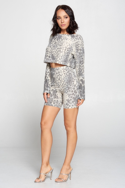 """Set the Mood"" Leopard Biker Short Set"