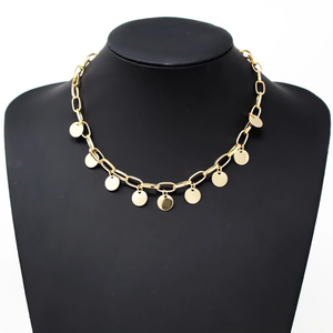 Gold Metal Link Dangling Circles Necklace