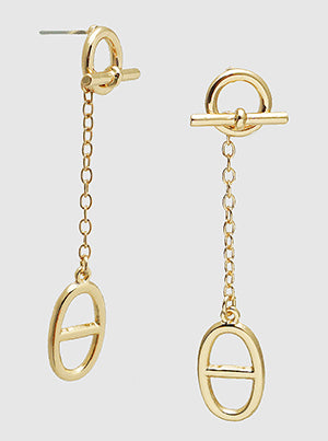 Toggle Clasp Gold Drop Earrings