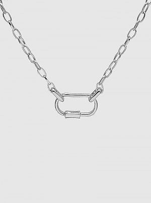 Silver Carabiner Chain Choker Necklace