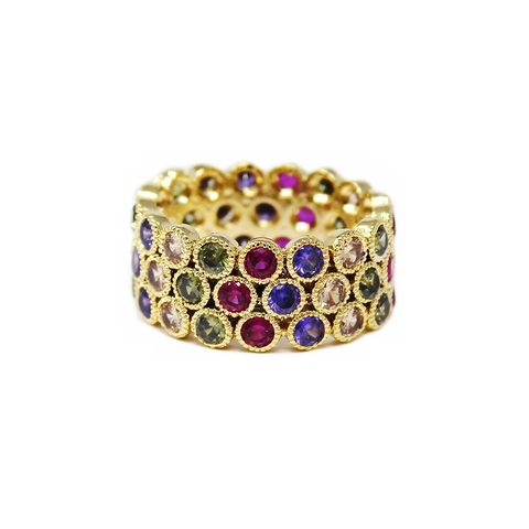 Jewel Tone Pave Cubic Zirconia Ring
