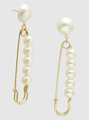 Pearled Safety Pin Oversized Drop Earrings