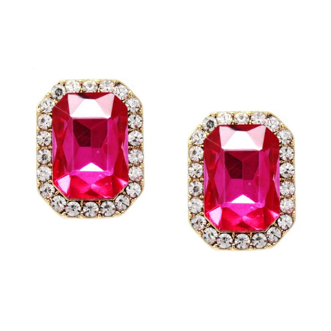Magenta Rhinestone Pave Glass Rectangular Earrings