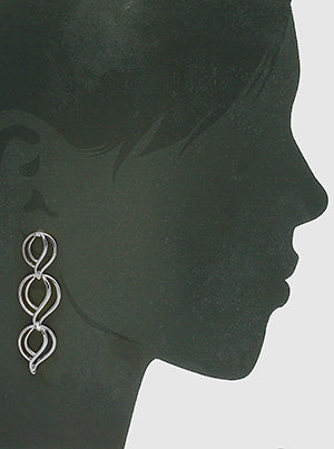 Oval Shapes Silver Drop and Dangle Earrings