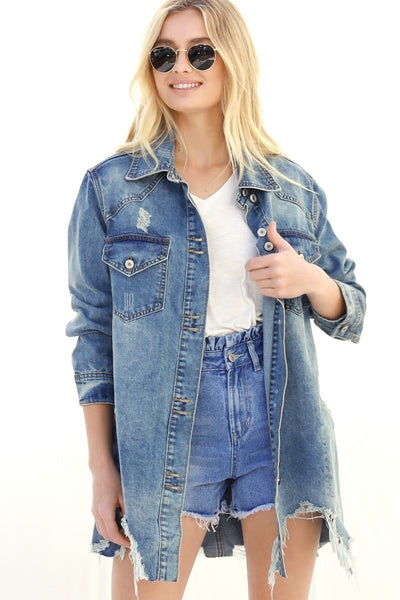 Distressed in Denim Jacket