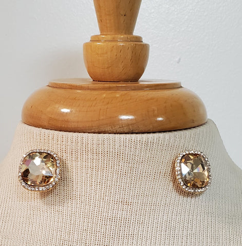 Amber Rhinestone Pave Glass Square Earrings