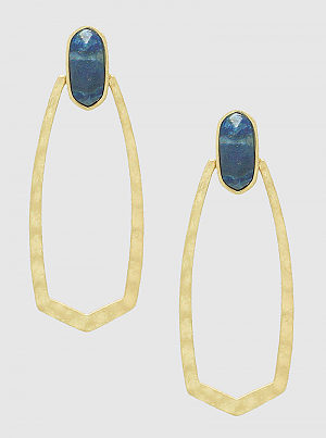 Semi Precious Oval Shape Faceted Drop Earrings