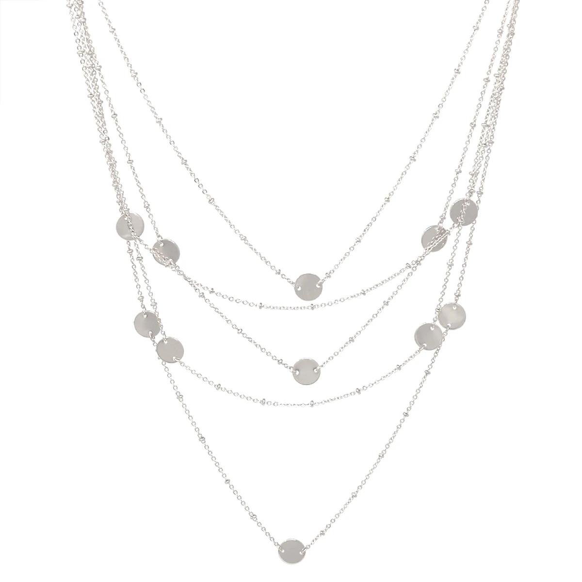 Layer it Up Multi Stand Silver Disc Necklace