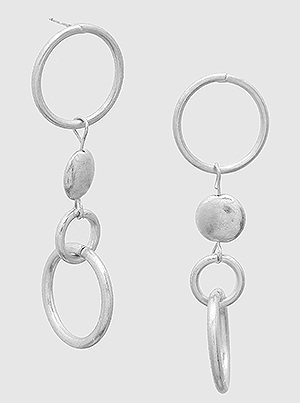 Silver Metal Geometric Circles Drop Earrings
