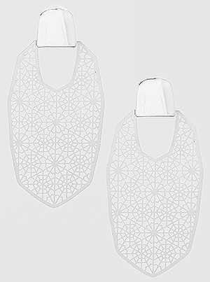 Silver Metal Geometric Shape Filigree Drop Earrings