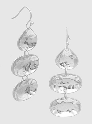 Silver Hammered Shape Dangle Drop Earrings