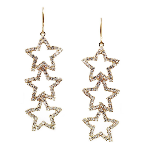 Rhinestone Pave Triple Stone Drop Earrings