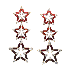 Shades of Red Pave Star Drop Earrings