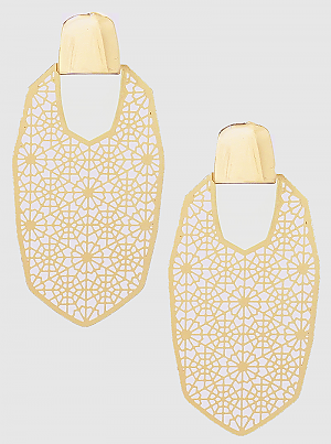 Gold Metal Geometric Shape Filigree Drop Earrings