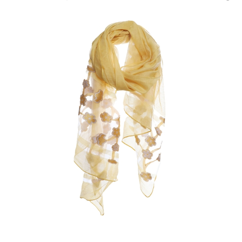 Embroidered Flower Sheer Wide Scarf
