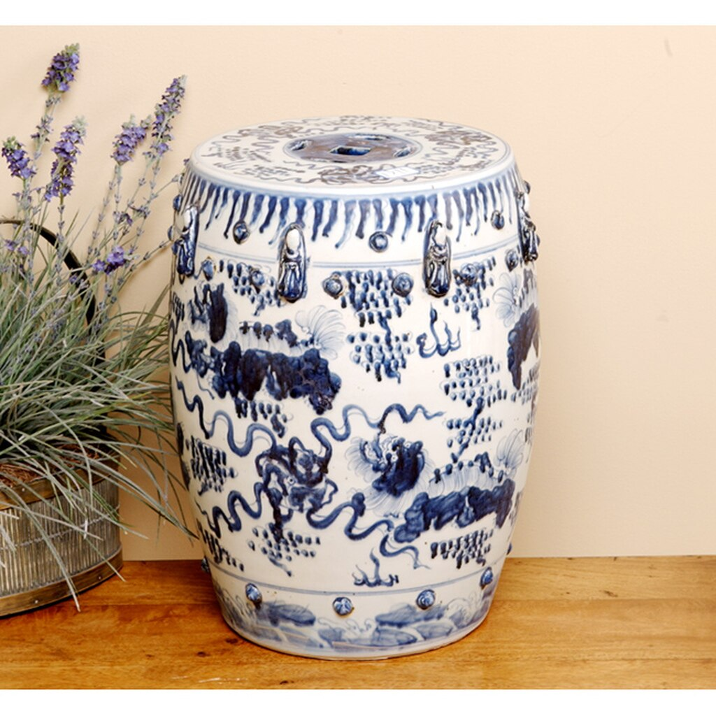 Garden Stool Blue Amp White Lion Motif The French Tangerine