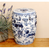 Garden Stool Blue & White Lion Motif
