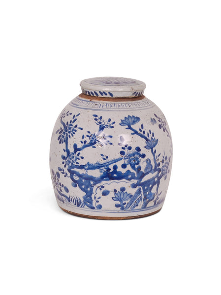 BLUE/WHITE BIRD AND FLOWER JAR