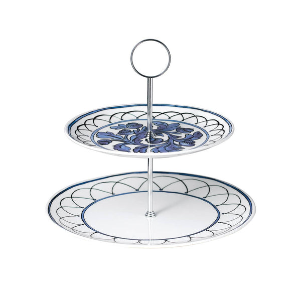 Blue Bird Two Tiered Cake Stand