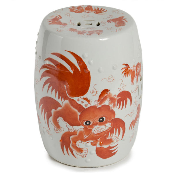 Garden Stool Red Foo Dog Porcelain