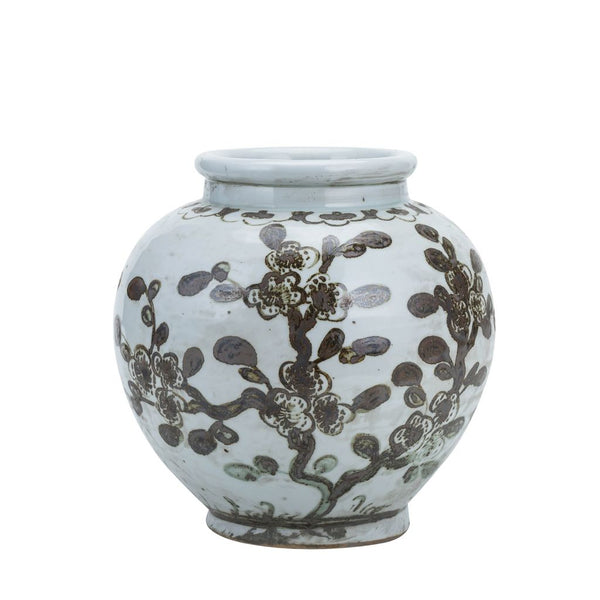 RUSTY BROWN SMALL JAR PLUM BLOSSOM