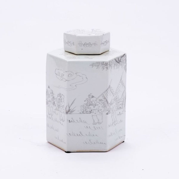 INK PAINTING HEXAGON TEA PORCELAIN JAR