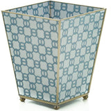 Glass Wastebasket Blue Chain (or Brown)