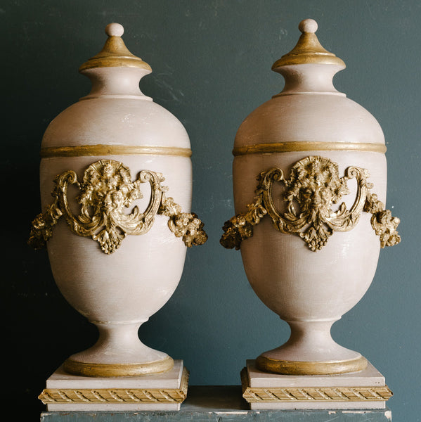 Pair of Neoclassical Wood Urns in Pink & Gold