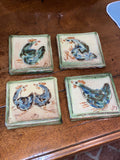 French Painted Tiles Set of 4