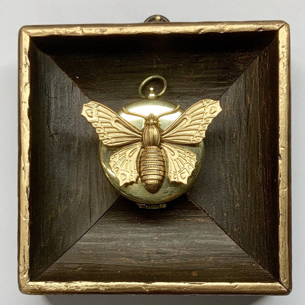 Wooden Frame with Butterfly on Compass