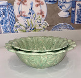 LIGHT GREEN SCALLOPED SMALL SERVING BOWL