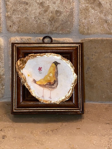 Painted Frame with Chicken on Oyster Shell