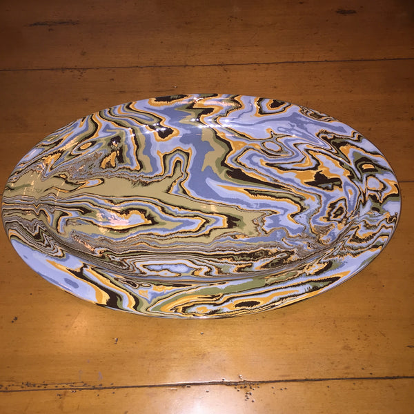 Oval Platter ~ French Blue with Green, Mustard and Brown