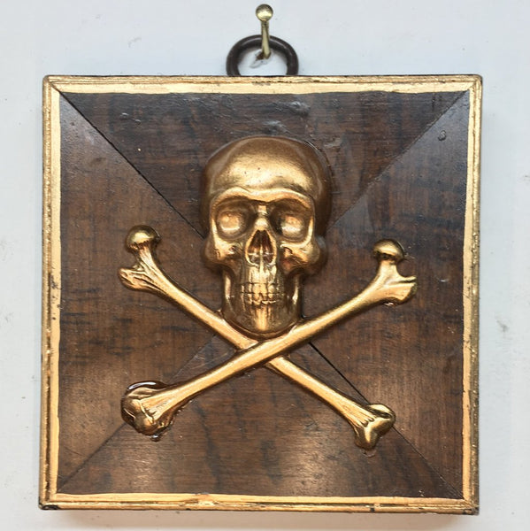 Burled Frame with Skull and Crossbones