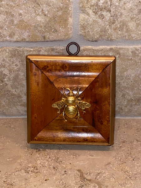 Burled Wood Square with Grande Bee