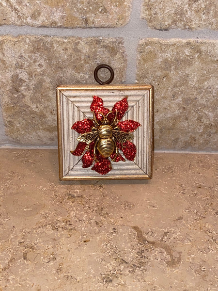 Painted Square with Grande Bee on Red Sparkle Brooch