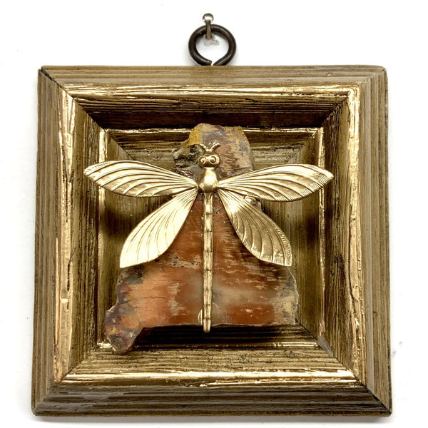 Gilt Frame with Dragonfly on Petrified Wood Piece