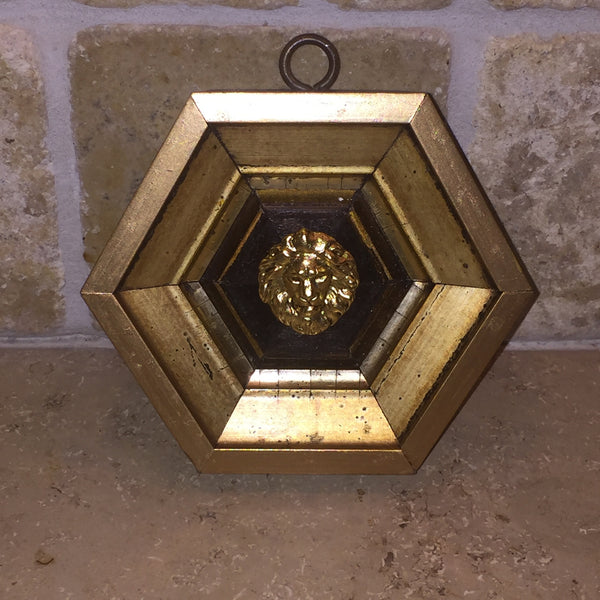 Gold Painted Hexagon Frame with Lion