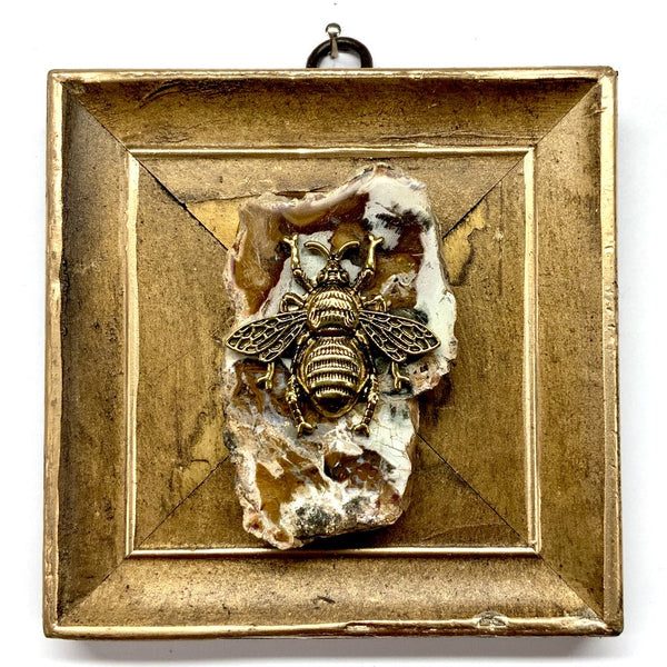 Gilt Frame with Grande Bee on Petrified Wood Piece