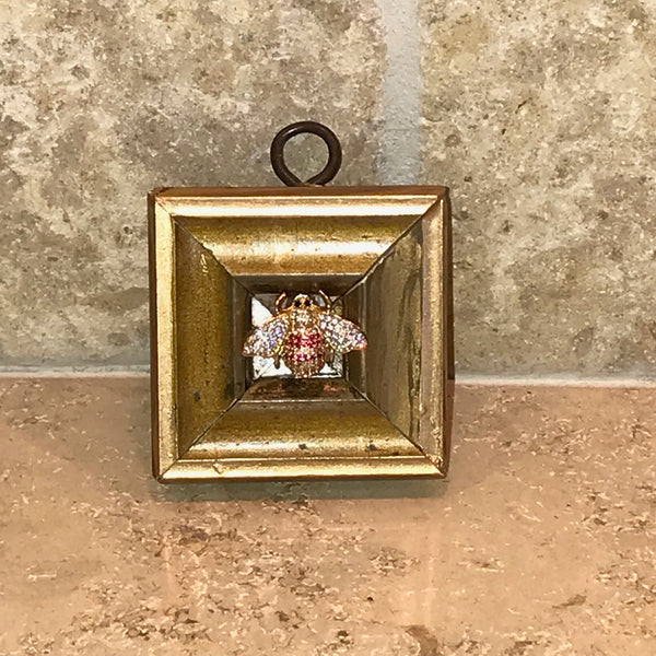 Gilt Square with Pink Sparkle Bee