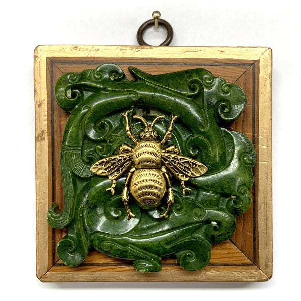 Wooden Frame with Grande Bee on Jade