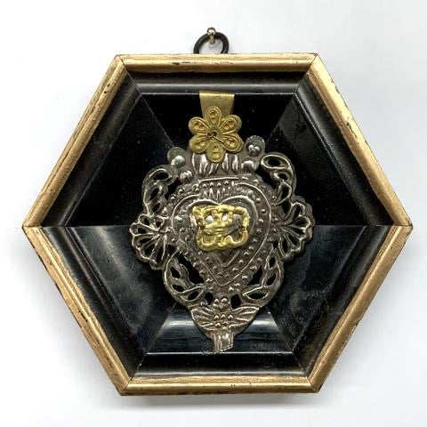 Lacquered Frame with 19th Century Silver Plated Sacred Heart