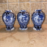 Antique Trio Small Dutch Delft Baluster Vases